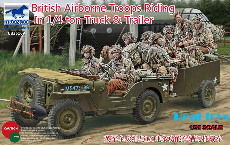 Bronco 35169 1/35 scale British Airborne Troops Riding In 1/4 Ton Truck & Trailer airborne pollen allergy