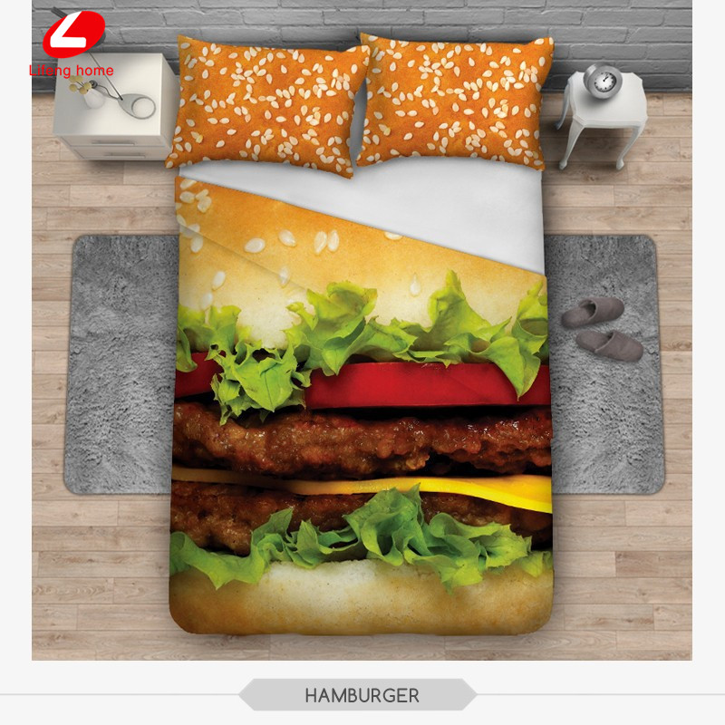 3 pièces ensemble de literie arbres 3D linge de lit chat literie hamburger 3d ensemble de lit 156*201 housse de couette + 2 pièces * 50*60 cm taie d'oreiller chat chien