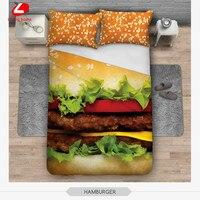 3pcs bedding set Trees 3D bed linens cat Bedclothes hamburger 3d bed set 156*201 duvet cover + 2pcs*50*60cm pillowcase cat dog
