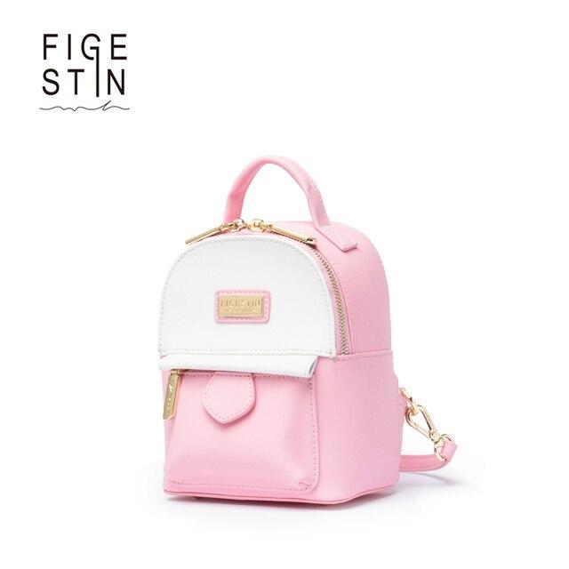 FIGETSIN Рюкзаки для Девочек-Подростков Кожа Розовый Белый Панелями Опрятный  Стиль Оригинальный Дизайн Женщины Рюкзак 04208d1d601