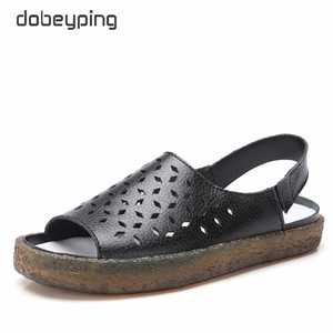 Image 1 - Dobeyping sandalias para mujer planas de piel auténtica, zapatos de verano, calzado de playa, talla grande 35 44