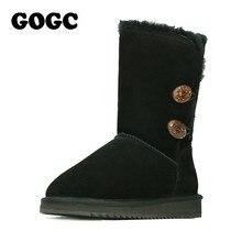 Gogc sapatos de inverno feminino botas de neve botas de inverno feminino com pele de lã confortável de couro genuíno botas de inverno feminino 9720