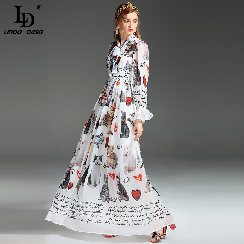High Quality New Fashion Designer Runway Maxi Dress Women's Long Sleeve Casual Animal Cat Letter Printing Long Dress