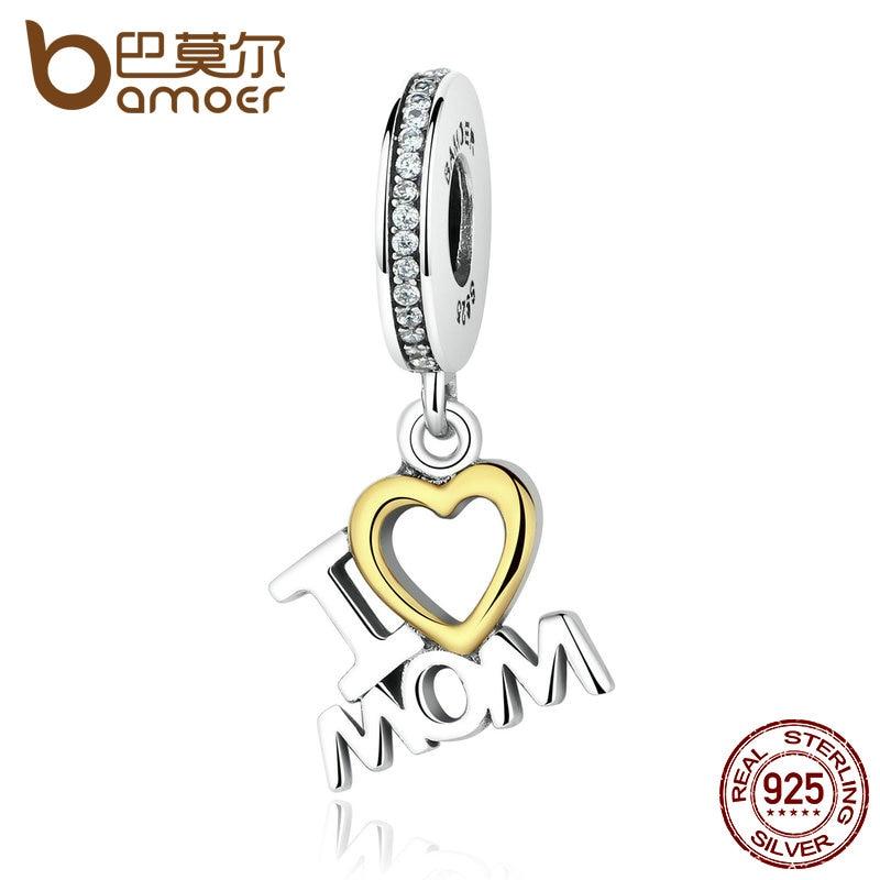 BAMOER Classic 925 Sterling Silver I Love MOM Heart Pendants fit Bracelets for Women S925 Fine