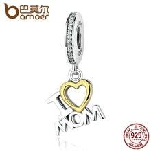 Bamoer clásica plata de ley 925 amo a la mamá del corazón collares cabidos pulseras para las mujeres s925 joyería fina scc049