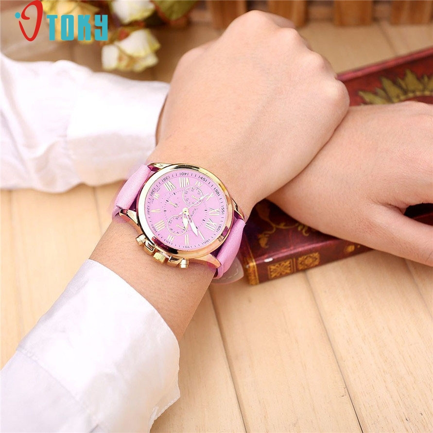 watch OTOKY Willby Fashion Pink Roman Numerals Faux Leather Round Case Watch Women Quartz Wristwatch 161221 Drop Shipping faux leather roman numerals quartz watch
