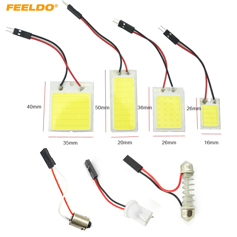 FEELDO 10Set White COB Dome Panel 16/24/36/48 LED Light SMD With T10/BA9S/Festoon Adapters Car LED Reading Light #FD-5081