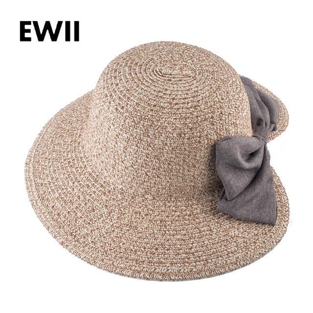 14ebcc99cdc 2018 Bow-knot sun hats for women wide brim panama cap ladies summer beach  floppy hat girl straw visor caps female chapeau