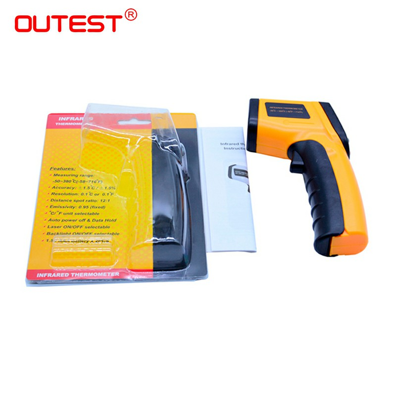 10PCS/LOT non-contact ir GM320 infrared thermometer Digital laser infrared thermometer 12:1 -50~380C(-58~716F)--With retail box