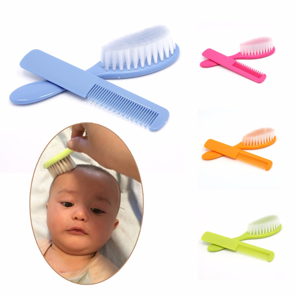 Baby Safety Soft Hair Brush 2Pcs/Set Infant Comb Grooming Shower Design Pack Kit