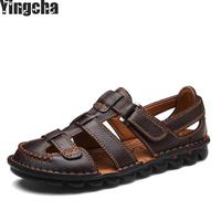 Brand Genuine Leather Shoes Summer New Large Size Men's Sandals Men Sandals Fashion Sandals And Slippers Big Size 38 48