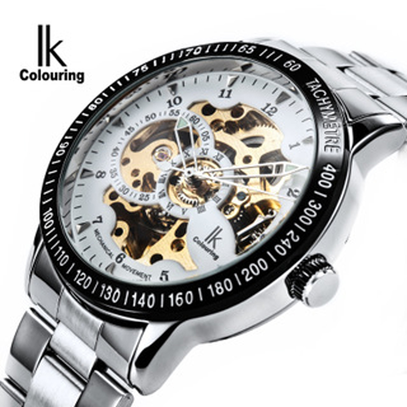 Luxury Mechanical Skeleton Waterproof Watch Men Brand IK Stainless Steel Strap Fashion Casual Wristwatches Relogio masculine