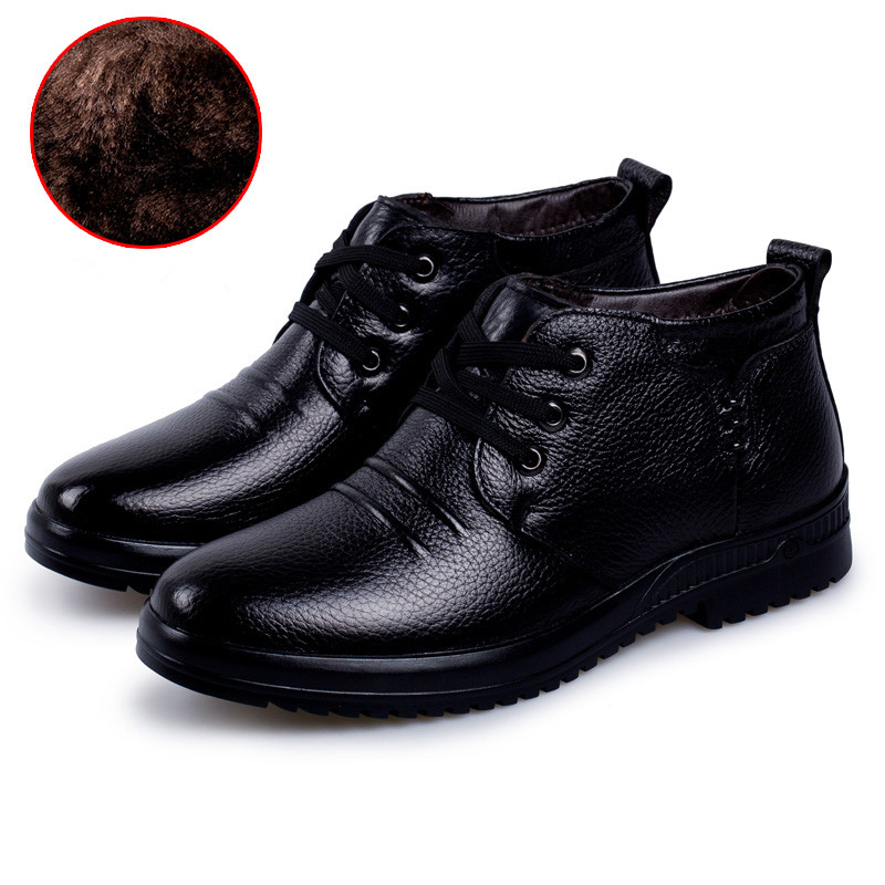 ФОТО  Plus cotton men 's first layer of leather leisure leather shoes, rubber non - slip wear shoes at the end of men' s shoes
