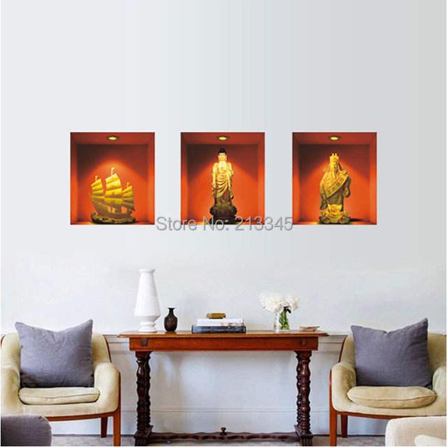 Fundecor] 3pcs/set high quality pvc wall sticker Buddha ...