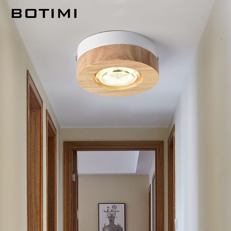 BOTIMI Modern 3W LED Ceiling Lights Round Wooden Small Surface Mounted Corridor Square Kitchen Lamp