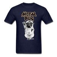 Man Rock N Roll Custom T Shirt With Metal Pug Short Sleeve Music Dog Man Tops