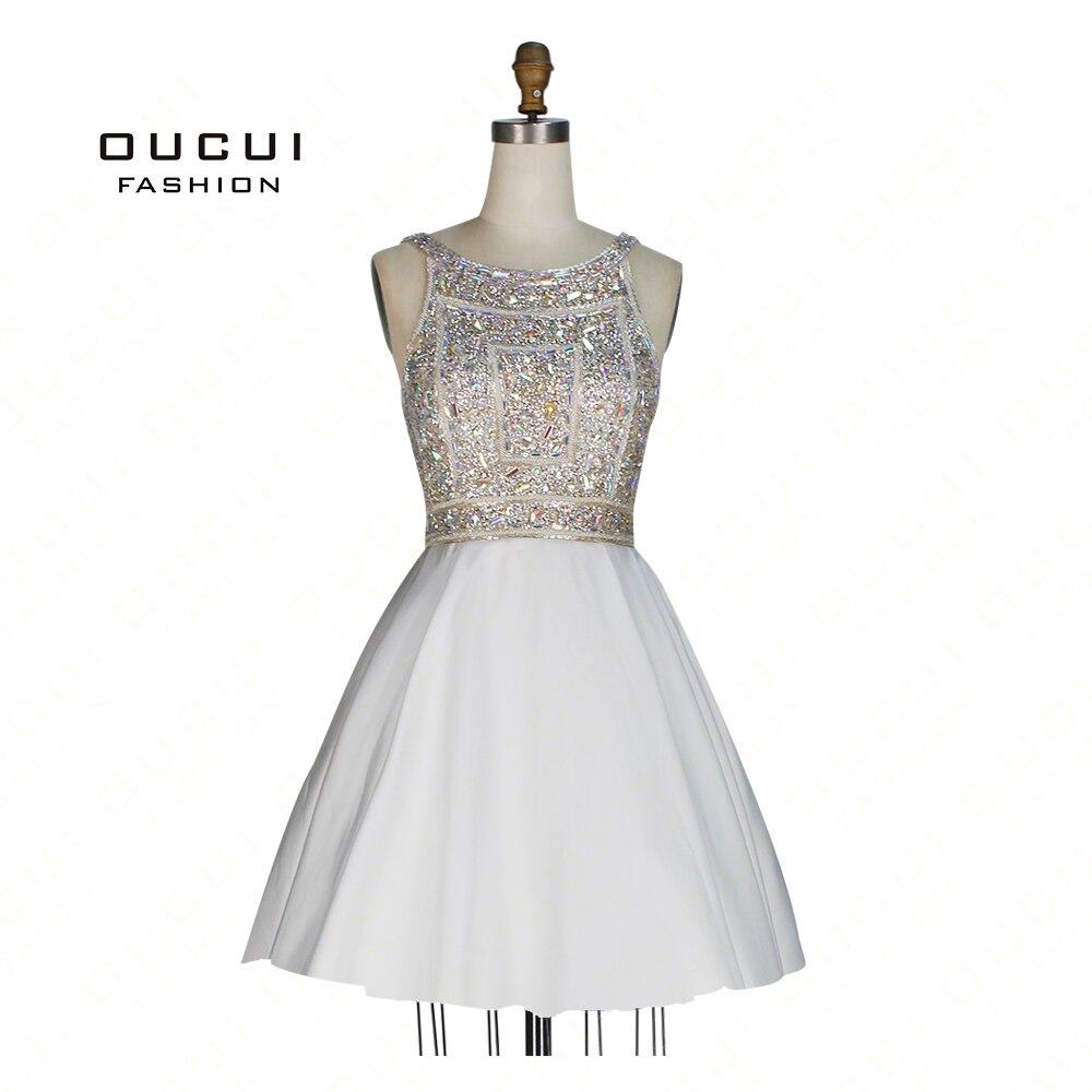 Real Photos Ball Gown Open back Party Formal   Dresses     Evening     Dress   handmade Full Crystal short   dress   OL102964B