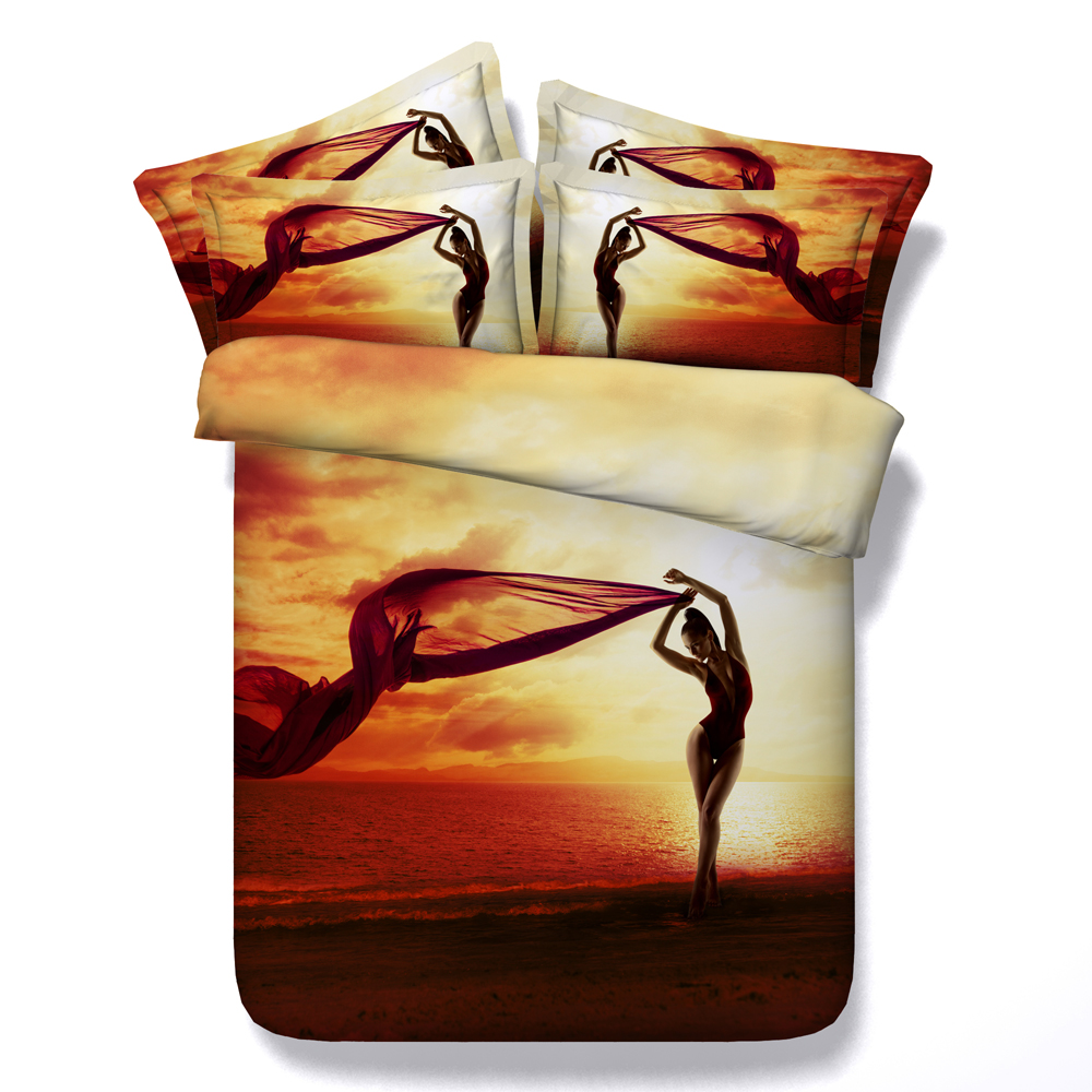 Bedding sets for women - 3d Printing Sunset Comforter Bedding Set Queen King Twin Ocean Beautiful Women Quilt Duvet Cover 4
