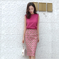 and Summer 2009 New Women's Wear Temperament Lace Half length Skirt Two Suits of Mingyuan Xiaoxiang Goddess Model Skirt