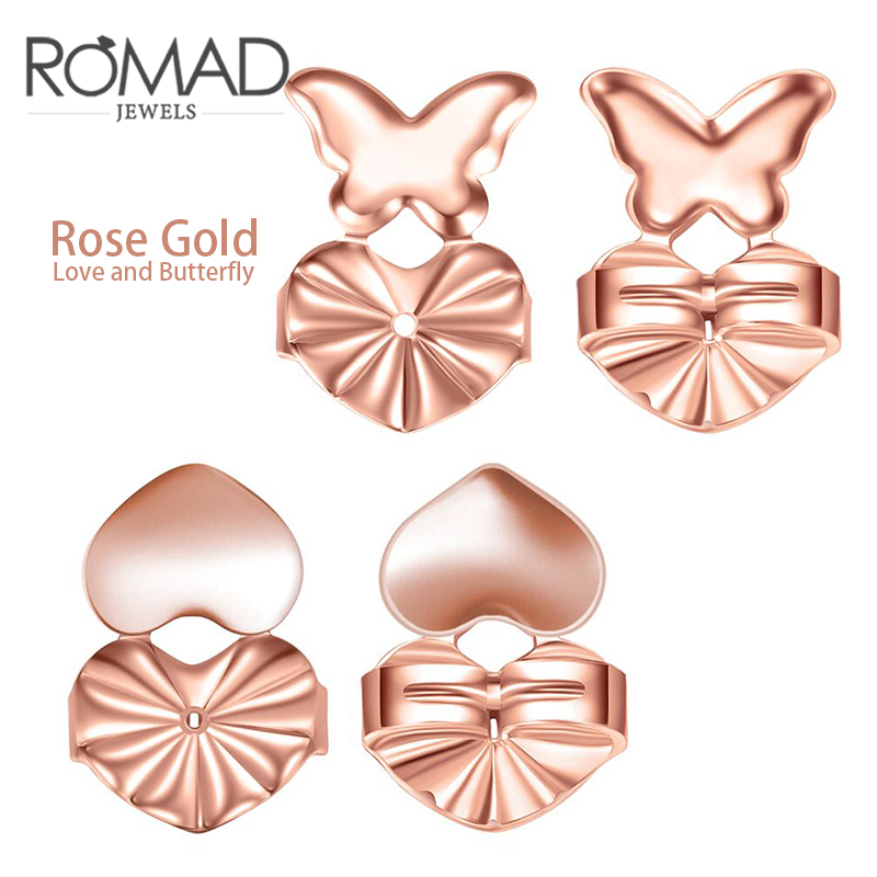 ROMAD Magic Bax Earring Backs Support Earring Lifts Hypoallergenic Fits all Post Earrings Set of Rose Gold Silver R4
