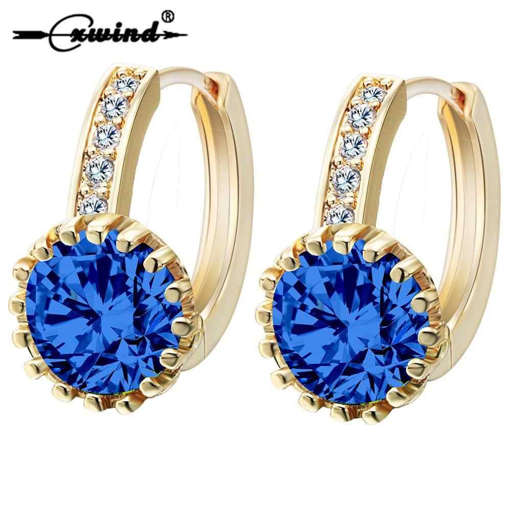 Cxwind Emas Biru Crystal Anting-Anting Fashion Pernikahan Perhiasan Warna-warni Wanita 10KT CZ Zircon Bayi Tindik Anting-Anting Hoop Bijoux