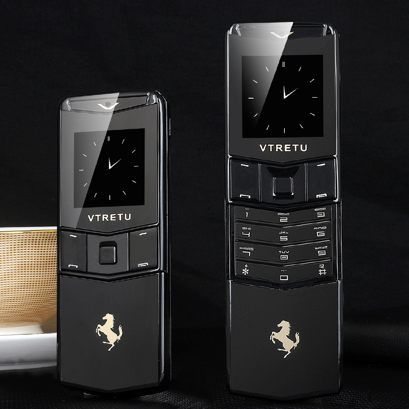 Luxo Metal Telefone Assinatura 2G GSM Negócio Estilo Deslizante Fino Fresco Mini Cartão De Telefone BT Especial Dial Vibração Anti perdido