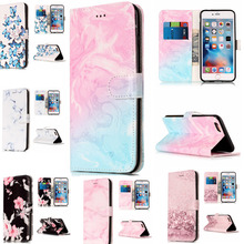 Wallet Leather Case For iphone 6 iphone 6S Flip Case Colorful Marble Pattern Cover for iphone6 iphone 6 S With Card Slot two tone marble pattern iphone case