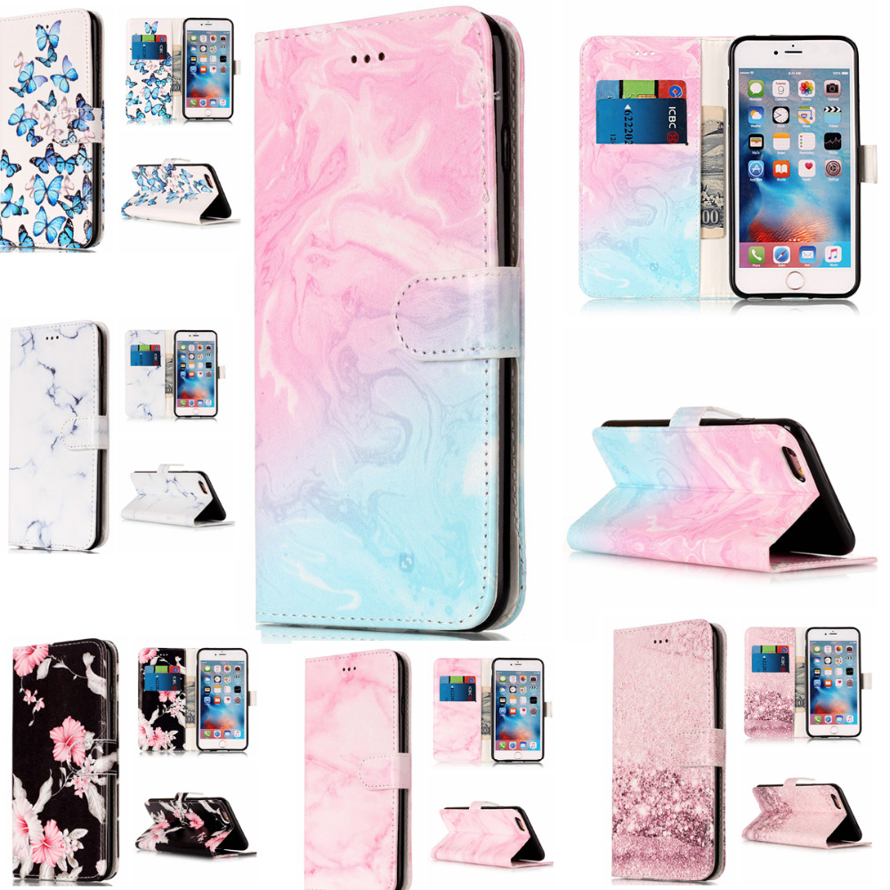 Wallet Leather <font><b>Case</b></font> For iphone 6 iphone 6S Flip <font><b>Case</b></font> Colorful Marble Pattern Cover for <font><b>iphone6</b></font> iphone 6S <font><b>Case</b></font> With <font><b>Card</b></font> Slot image