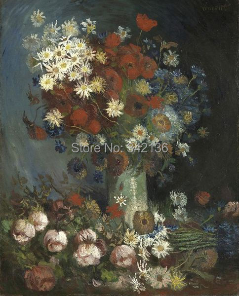 Beautiful decoration oil painting meadow flowers and roses by Van Gogh high quality reproduction artwork for friends No FrameBeautiful decoration oil painting meadow flowers and roses by Van Gogh high quality reproduction artwork for friends No Frame