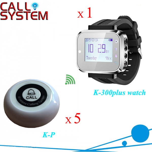 433mhz Waiter call wireless system 1 smart watch receiver pager with 5 bell buzzer for customer use restaurant call bell pager system 4pcs k 300plus wrist watch receiver and 20pcs table buzzer button with single key