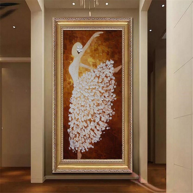 Beibehang 3d wallpaper The mural on the wall of custom wallpaper hand mural painting ballerina art porch corridor wallpaper