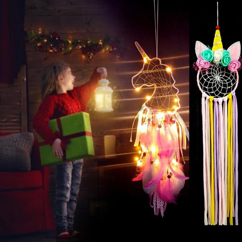 WEIGAO Unicorn Hanging Craft Props Unicornio Birthday Prop DIY Feather Cloth Craft Wall Hanging Ornaments Kids Birthday Supplies