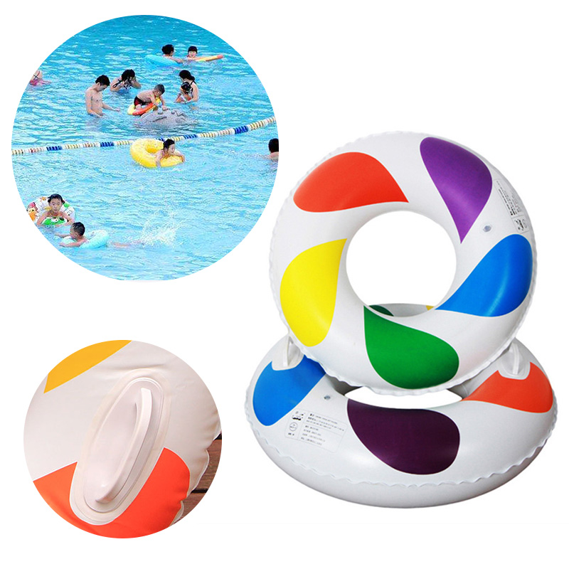 Adult Childrens Summer Inflatable Colorful Swim Ring Swimming Pool Boardwalk Swimming Protection Ring