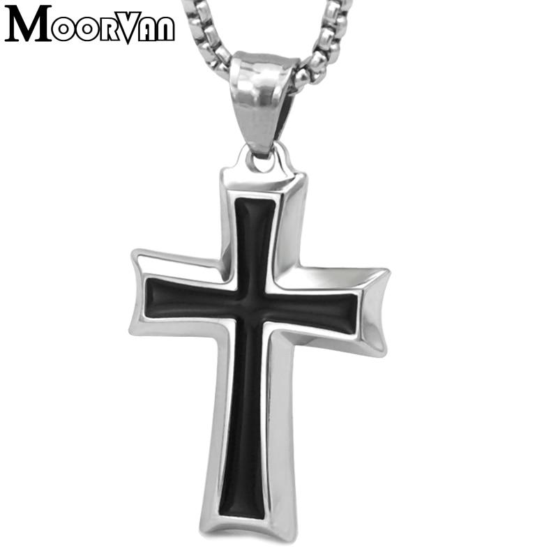 Moorvan Kreuz Anhänger Halskette, coole Edelstahl Männer - Modeschmuck - Foto 2