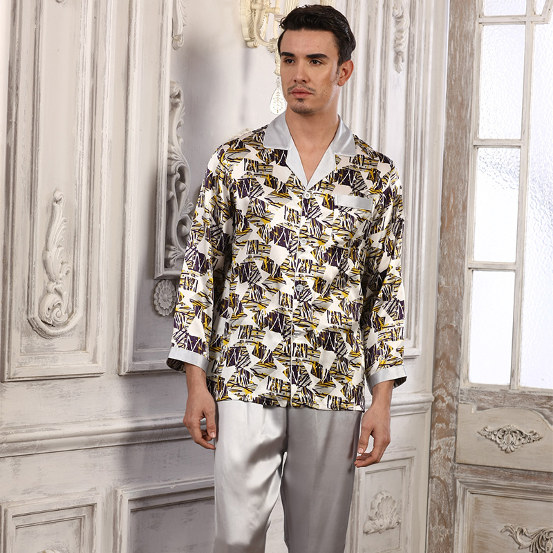 China Hot Selling ! Men Silk Pajamas 2018 NEW Long-Sleeved Pajama Pants Sets High Quality 100% Pure Silk Pyjama Lounge Set