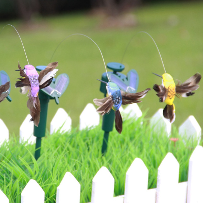 Solar Hummingbird Power Vibration Dancing Fly Fluttering Birds For Garden Yard Decorative Stake Flying Fluttering Decoration Toy