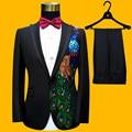Lentejuela Tudedo Jacket + Pant 2016 Nueva Perlas de Lentejuelas de Pavo Real DJ de la Etapa de la boda Para Hombre Trajes de Baile Más Tamaño 3XL Costumbres Homme