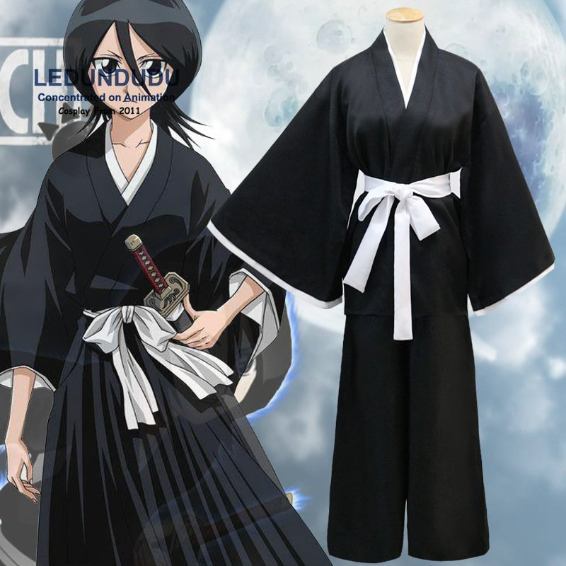 Hot Sale Anime Bleach Kuchiki Rukia Cosplay Shinigami Death Kimono Soul Reaper Full Set Captain Unisex Halloween Costume