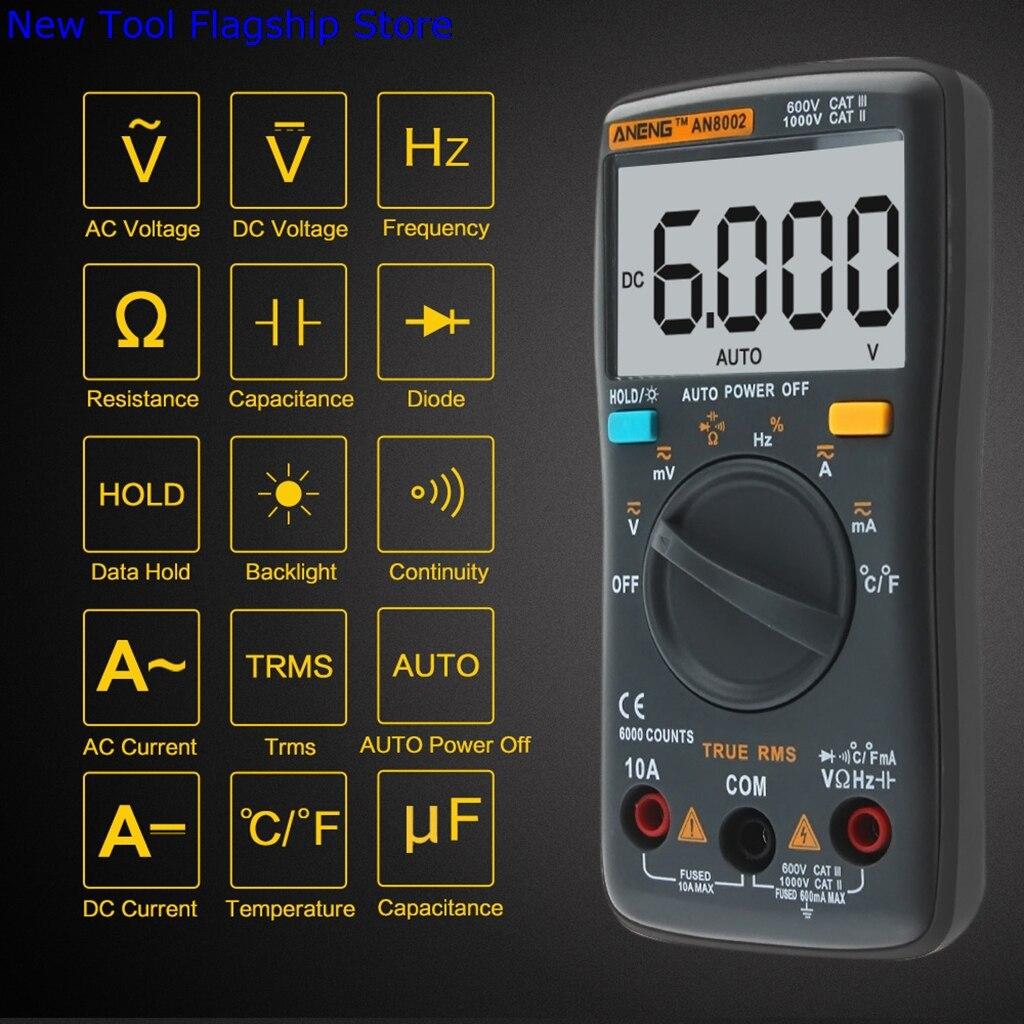 AN8002 Digital Multimeter 6000 Counts AC/DC Ammeter Voltmeter Thermometer Black sj 028va 0 3 6 digital dc double show voltmeter amperemeter black