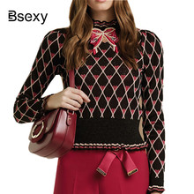 Winter Crop Sweater For Women 2018 Runway Bows Heart Printed Plaid Knitted Sweater Short Pullover truien dames knitwear Top