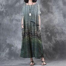 e11465549b7 BUYKUD Casual Maxi Dresses For Women 2018 Summer Summer Linen Stripe Loose  Plus size Dresses Vintage ...