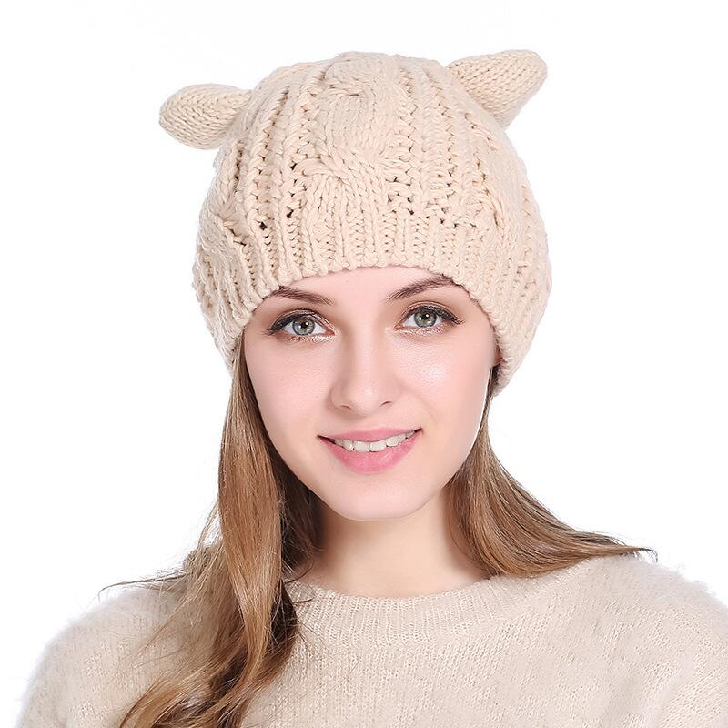 Pink Knitted Autumn Winter Women Beanies Hat With Cute Cat Ears Warm Solid Female Skullies Cap girls Warmer Hat Bonnet Hats toyouth skullies beanies 2017 autumn women letters jacquard warm thicken knitted hat female