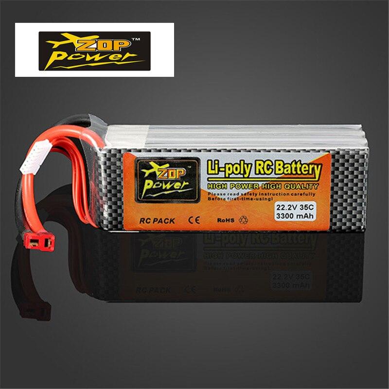 Hot New ZOP Power 22.2V 3300MAH 6S 35C Lipo Battery T Plug for RC Models