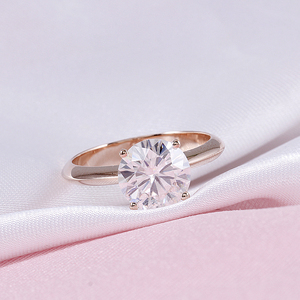 Image 4 - DovEggs Solid 14K 585 Rose Gold 2.5ct carat 8.5mm F Color Lab Created Moissanite Diamond Solitaire Engagement Rings For Women