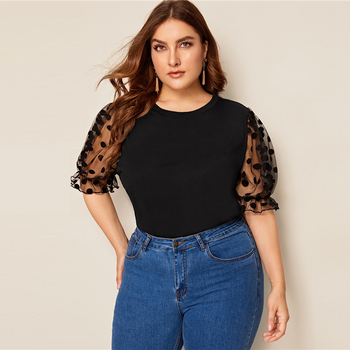 Plus Size Black Swiss Dot Mesh Sleeve Solid Top