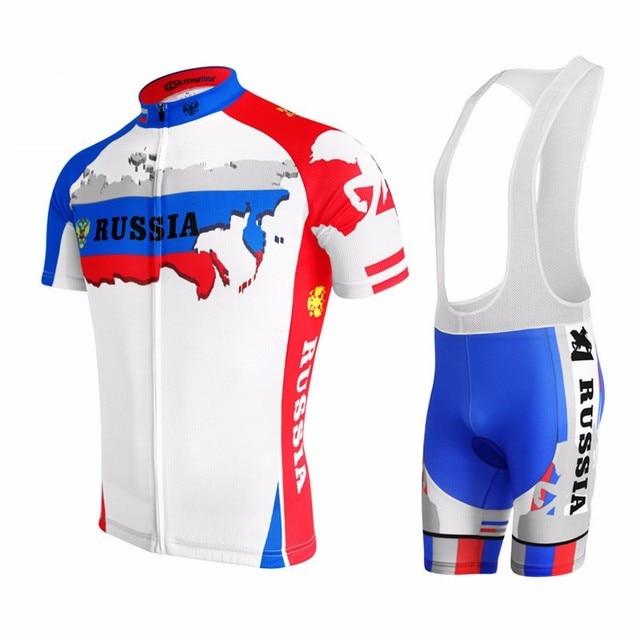 2017 men Russia cycling jersey cycling clothing Short Sleeve Suit bike wear  blue Gel pad summer 84c34719c