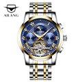 AILANG оригинальный бренд Мужские автоматические часы Топ Роскошные стальные часы бизнес человек мода со стандартными часами Механические Му...