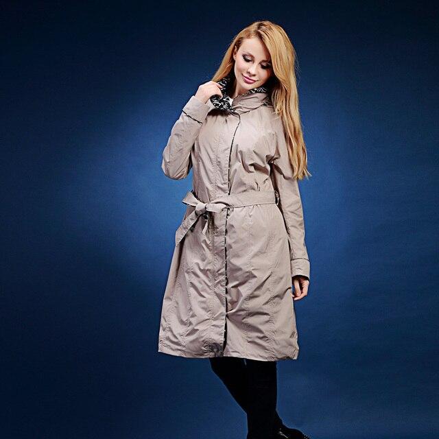 Весна и осень пальто для Европы и России давно траншеи дизайн женщин шляпа двойной слой пальто плюс размер 48-62 VLJ-V515