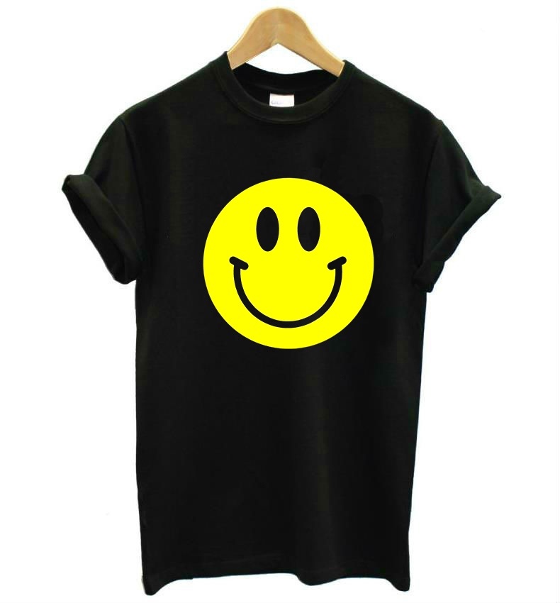 Yellow Smiley Face Print Women Tshirt Casual Cotton Hipster Funny T Shirts For Lady Top Tee Drop Ship B-359