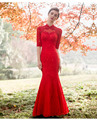 Red Chinese Wedding Dress Female Long Mermaid Cheongsam Beaded Chinese Traditional Dress Women Qipao for Wedding Party